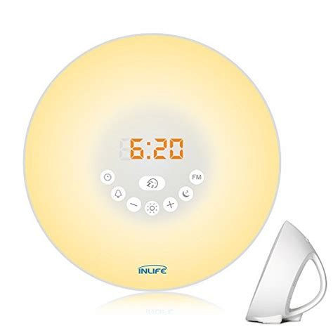 light up alarm clock sunrise alarm clock inlife 2017 newest wake up light