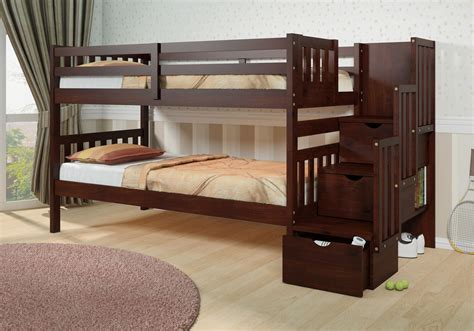 Wooden Bunk Beds With Drawers by Furniture Brown Polished Wooden Bunk Bed With Stair And Trundle Also Wooden Drawers