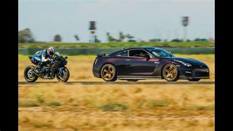 kawasaki hr  hp nissan gtr  mile airstrip race