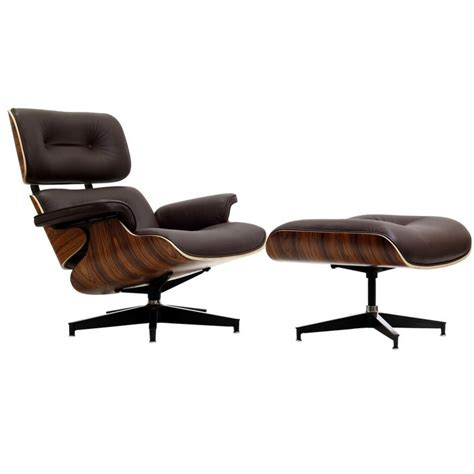 Eames Style Lounge Chair And Ottoman Brown Leather Walnut Wood Eames Leather Chair And Ottoman