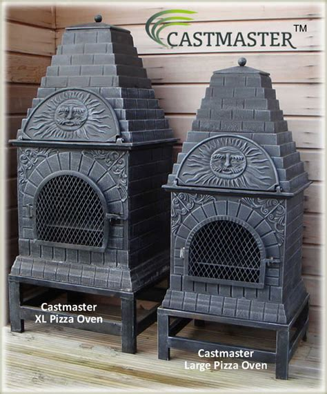 chiminea with pizza oven buy the castmaster versace style cast iron outdoor pizza