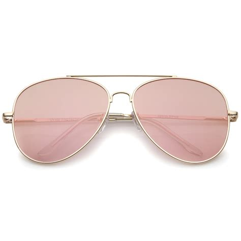 Aviator Sunglasses sunglassla large metal gold frame pink mirror flat