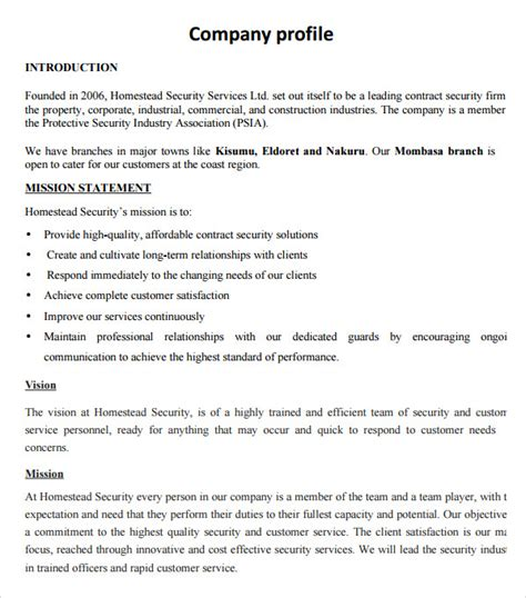 template for a company profile sle company profile sle 7 free documents in pdf word