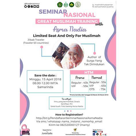 The Great Muslimah seminar nasional great muslimah asmanadia