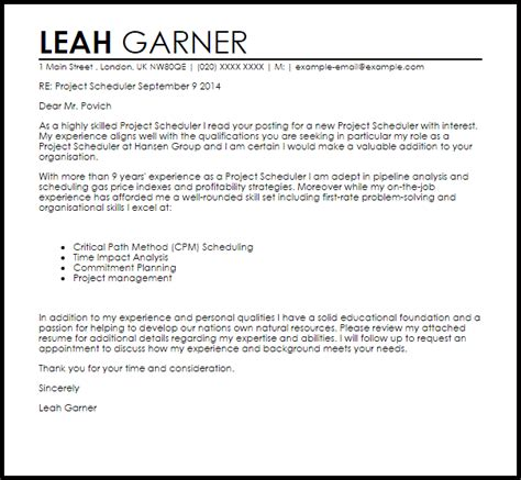cover letter for scheduler project scheduler cover letter sle livecareer
