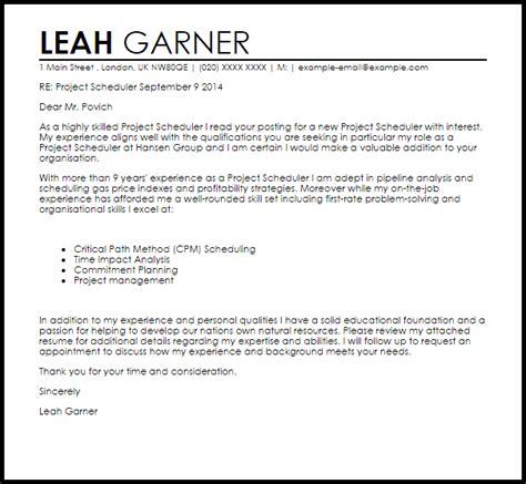 Project Scheduler Cover Letter Sample   LiveCareer
