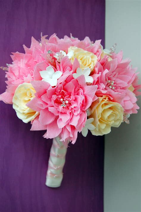 Handmade Flowers - pink dahlia paper flower wedding bouquet handmade paper
