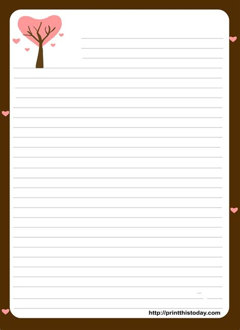 printable paper letter love letter stationery template google search projects