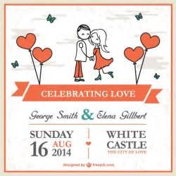 cartoon couple wedding card template vector free download