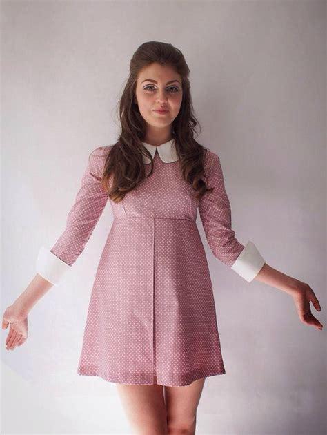 long sleeved polka dot mini dress inspired   mod