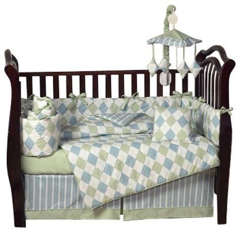 Argyle Crib Bedding Argyle Blue And Green 9 Crib Bedding Set Contemporary Cribs By Tiny Totties