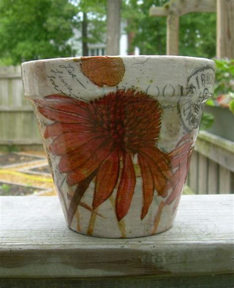 decoupage terracotta plant pots handmade decoupage terra cotta clay flower pot 5 jpg 1224