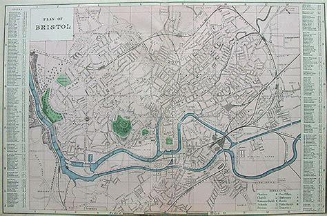 Historic Home Plans by Antique 19th Century Street Map Of Bristol