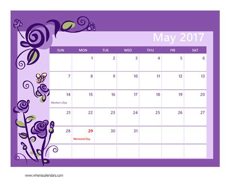 calnedar template may 2017 calendar pdf weekly calendar template