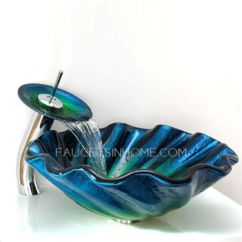 blue glass vessel sink blue glass vessel sinks for bathrooms shell shape faucet