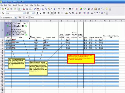 Spreadsheet Book by Grocery Price Book Vertola