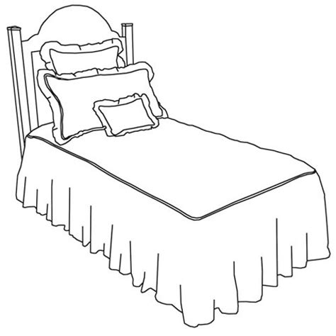 drawing of bed girls bedding in custom fabric and nursery kid sets in