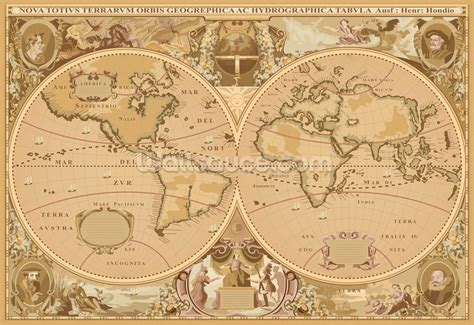 Design Your Own Home Office Space by Antique World Map Wallpaper Wall Mural Wallsauce Usa