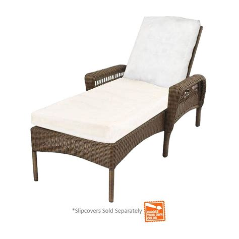 outdoor chaise lounge cushion slipcovers hton bay spring haven grey wicker patio chaise lounge