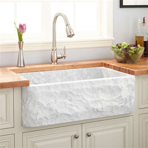 Marble Kitchen Sink 33 Quot Polished Marble Farmhouse Sink Chiseled Apron