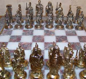 ancient chess set 14 quot square gray white marble board ancient roman metal