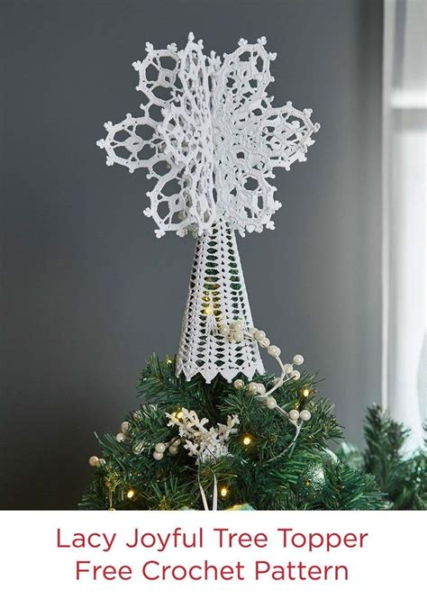 knitting pattern christmas tree topper lacy joyful tree topper in aunt lydia s crochet thread
