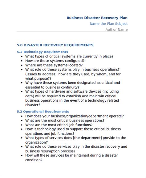 recovery plan template disaster recovery plan template free