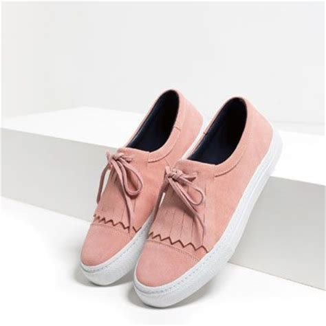 zara loafers india image 2 of leather fringed plimsolls from zara happy