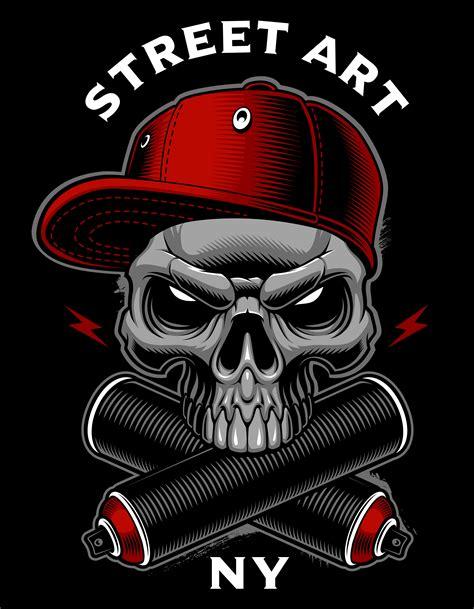 graffiti skull  spray cans   vectors