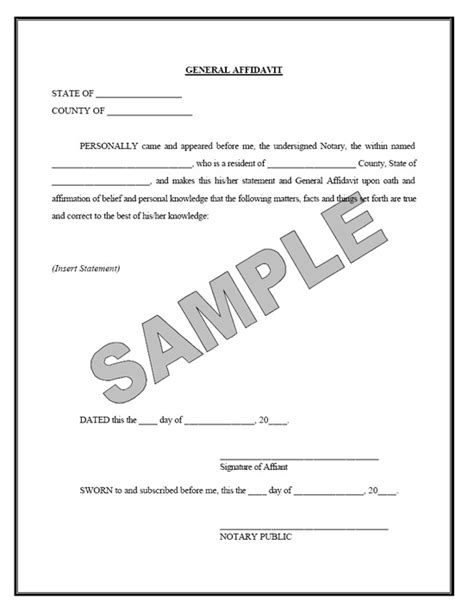 blank affidavit written sworn statement template sle