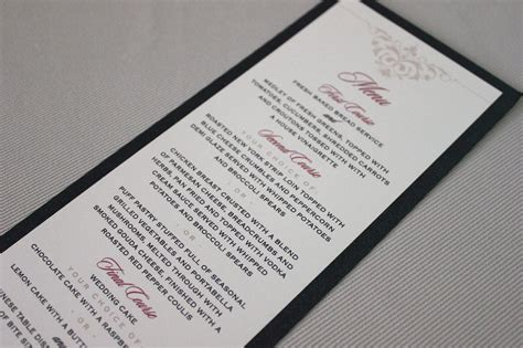 Handmade Menu - menus handmade invitations