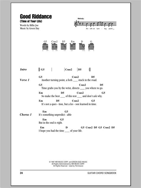 printable lyrics best day of my life good riddance time of your life sheet music direct