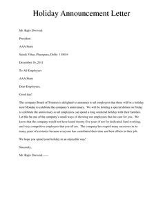 Business Letter Templates Office Closing During Holiday 1000 Images About Announcements Letters On Pinterest