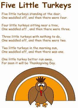 printable turkey poem five little turkeys poem