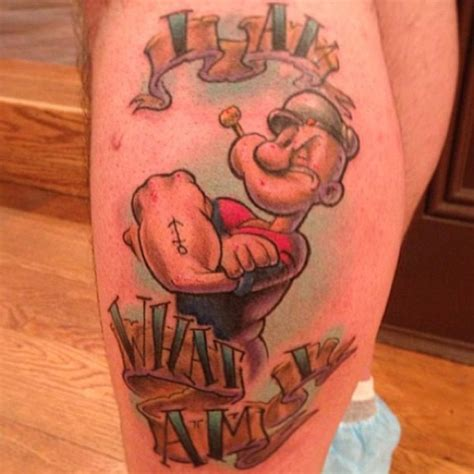 popeye tattoo i am what i am quote popeye color leg