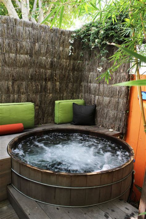 backyard spa ideas backyard patio ideas with tub landscaping