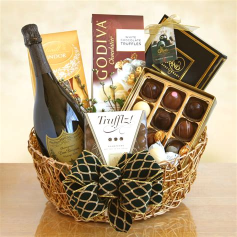 chocolate gift baskets ultimate dom perignon chagne and truffles gift basket