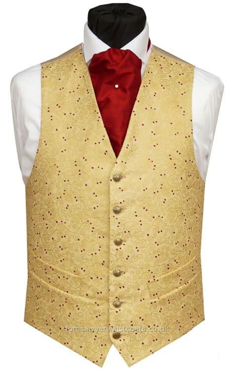 gold pattern waistcoat gold swirls and red hearts waistcoat wedding waistcoats