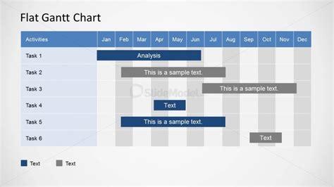 flat gantt chart for powerpoint monthly plan slidemodel
