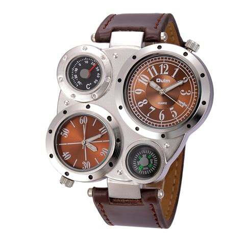 Fashion Exclusive Imports Mens Alloy Stainless Steel White oulm s dual movements leather white free shipping dealextreme