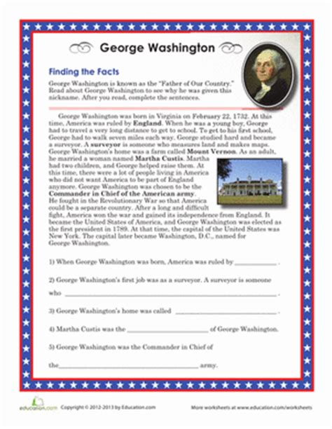 biography of george washington for first graders george washington facts worksheet education com