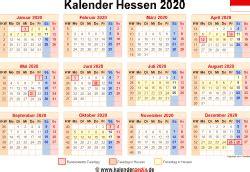kalender  hessen ferien feiertage excel vorlagen