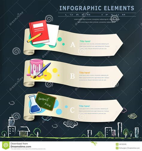 design elements banner education infographic design elements with banners stock
