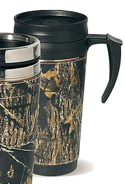 Camo Leather Travel Mug   with handle