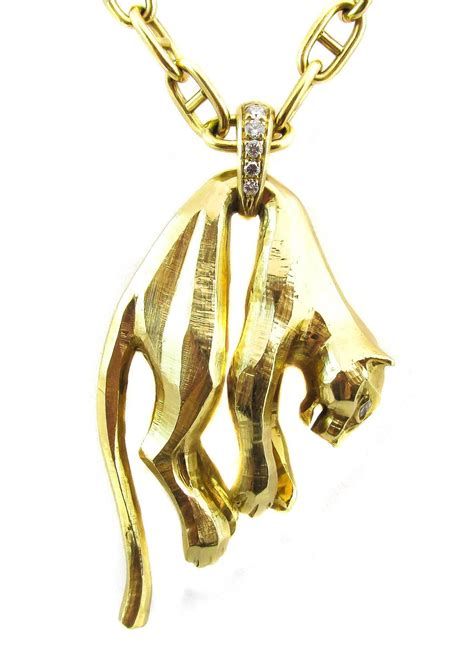 cartier panther gold pendant necklace for sale at