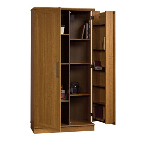 armoire with shelves and doors sauder home plus storage cabinet swing out door brown