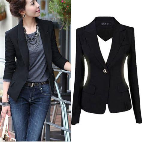 Blazer Black Fashion Single Buttom new fashion s 3xl blazer jacket suit casual black