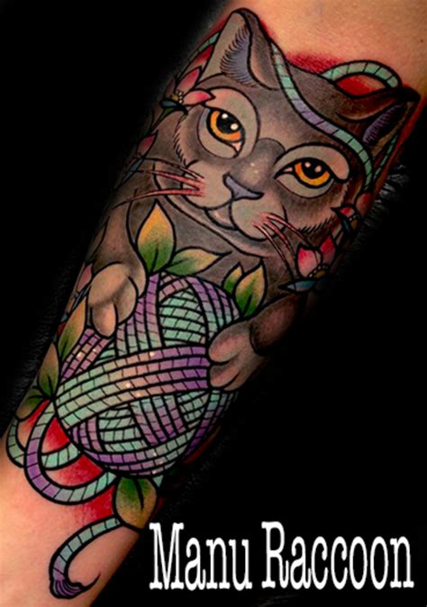 neo trad cat tattoo neo traditional cat tattoo