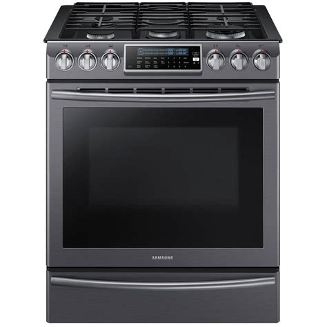 Samsung Oven Samsung 5 8 Cu Ft Slide In Range With Self Cleaning Dual Convection Oven In Black Stainless