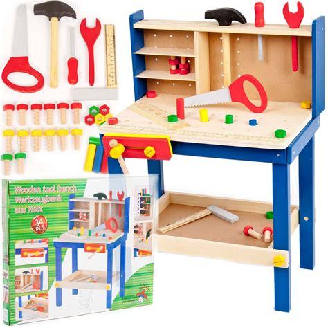 kids play work bench 34 piece wooden tool work bench table tools children s